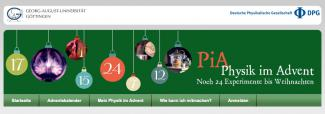 Headerbild der Website Physik im Advent